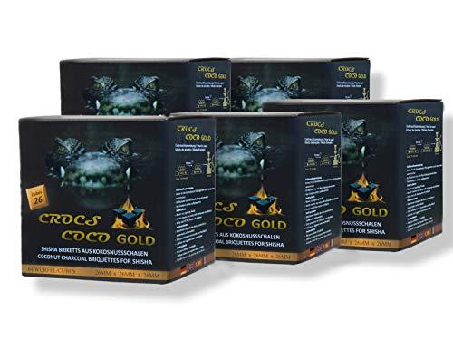 CROCS COCO Gold I Kokosnuss Kohle mit Langer Brenndauer I Grillkohle 26x26mm I wenig Asche I geringer Rauchentwicklung I Nachhaltige Naturkohle I Kohle Würfel in Premium Qualität I 5kg