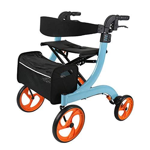 Elektrischer Rollstuhl Klappbarer Rollator Walker mit Doppelbremsen, Sitz und Abnehmbarer Aufbewahrungstasche, höhenverstellbar mit Stockhalter, Leichtes Aluminium für ältere Menschen, Blau