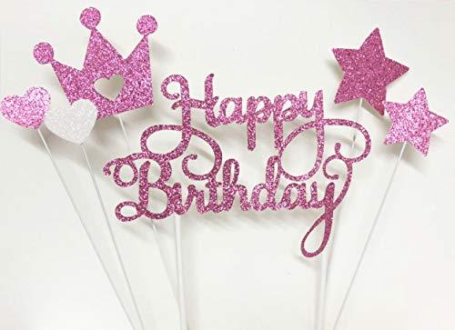 Lming Handgemachtes 6-Punkte-Glitzerkuchen, Das Spitzen FÜR Kuchen Cupcake Und EIS Dekoriert - Alles Gute Zum Geburtstagglitter Stieg Rotes Set