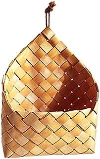 KANJJ-YU Sols de pique-nique de fruits panier à la main Chips en bois à la main Basket de rangement tissé Organiseur de cu...
