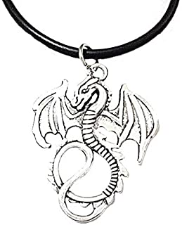 Collar de la Cuerda con el Día Unisex Novio Negro Dragón de Plata joyería Ideas del Regalo del Padre