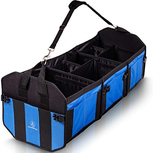 Large Trunk Organizer With Shoulder Strap - Trunk Organizer SUV, Cars, Van, And Truck Bed - Car Organizer Trunk, Back Seat And Front Seat - Patent Pending Trunk Cargo Organizer (3 Compartments)