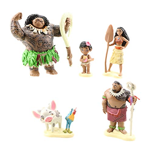 6pc MOANA figurines Cut cake toppers moana girl's birthday party candle moana dolls birthday cupcake toppers and cake toppers party cake decoration 6 Figure Topper Cake Toy Doll