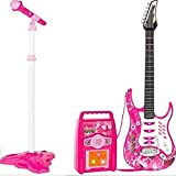 Toymaker Electric Bass Guitar Play Set Children Musical Instruments Toy w/ Whammy Bar, Microphone, Wireless Amp, AUX, Educative Beginner Kids Musical Instrument Set for Boys and Girls (Pink)