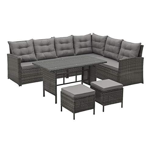 SVITA Monroe - Sofá esquinero de polirratán, Conjunto de Muebles de jardín, sofá de Esquina, Conjunto de salón (Gris)