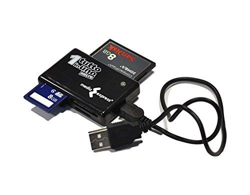 Media Express Lettore/Scrittore Memory Card, tutto in uno, legge-scrive: CF tipo I e II, SD, mini SD, MMC, RS-MMC, MMC mobile, MMC micro, MS Pro, MS Duo Pro, MS micro M2, xD