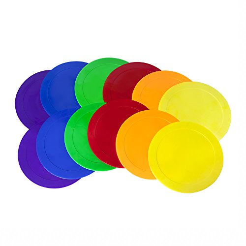 ace drills Ace Creations 9 Inch Poly Vinyl Spot Markers – for Training and Drills – Set of 12 – Two of Each Red, Green, Orange, Purple, Blue, and Yellow