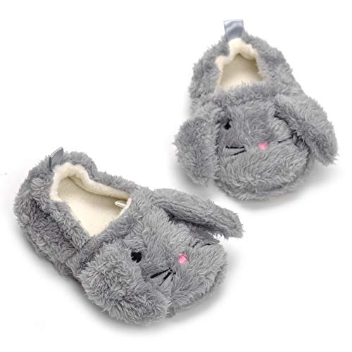Csfry Baby Girl's Premium Soft Plush Slippers Cartoon Warm Winter House Shoes Gray US 7-8