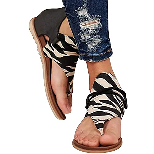 YUEBAOBEI Sandalias De Mujer, Verano Plana Moda Mujer Chanclas Playa Calzado Comodas, Verano Alpargatas De Punta Abierta,C,42