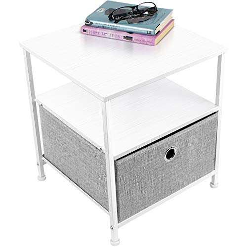Sorbus Nightstand 1-Drawer Shelf Storage- Bedside Furniture & Accent End Table Chest for Home, Bedroom, Office, College Dorm, Steel Frame, Wood Top, Easy Pull Fabric Bins (White/Gray)