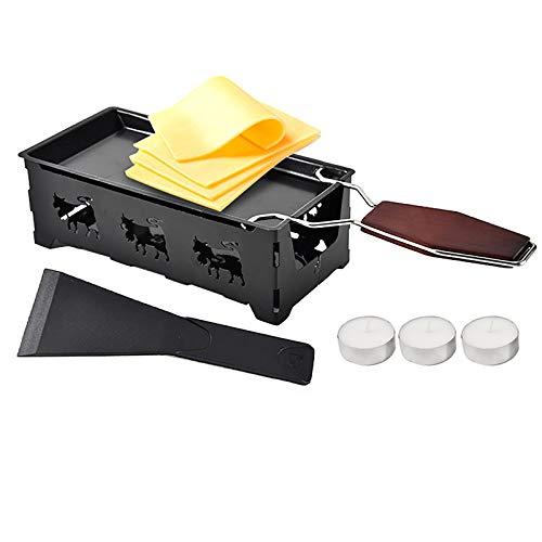 Juego de mini raclette, tostadora para quesos, bandeja antiadherente con espátula, práctico utensilio, minimolde antiadherente con mango de madera maciza, mini parrilla para raclette,