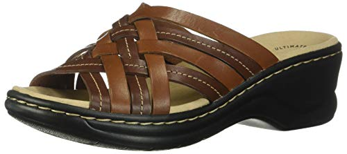 Clarks Women's Lexi Selina Sandal, Mahogany Leather, 6