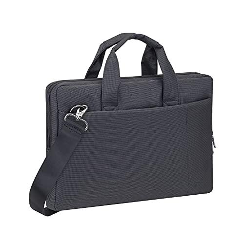RIVACASE Notebooktasche für Laptops bis 13,3 Zoll, Macbook Pro & Air – Moderne Laptoptasche mit Zusatzfächern & extra verstärkten Seitenwänden / 8221 Schwarz
