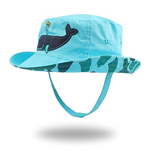 Pesaat Cappello Da Sole Estivo Per Ragazzi Berretto a Tesa Larga Cappello Per Bambini Con Motivo a Pesci 0-4 anni (Balena 2-4 anni)