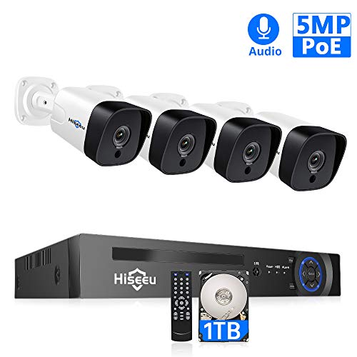【5MP 8CH】Hiseeu PoE Security Camera System,8Channel 4MP/5MP H.265+ NVR,4Pcs PoE Cameras,2592 by 1944 Pixels,Phone&PC Remote,Microphone,Night Vision,Waterproof,Onvif,Motion Alert,24/7 Recording,1TB HDD