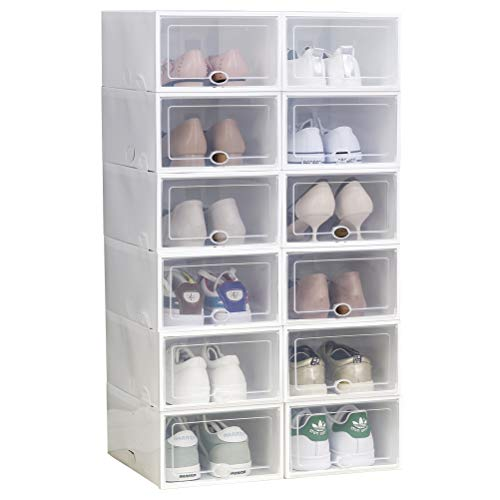 Shoe Storage Boxes 12 Pack Clear Plastic Stackable