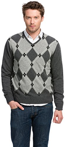Citizen Cashmere Argyle Sweater (Men's) - 100% Cashmere (Small, Dark Grey), (42 080-09-01)