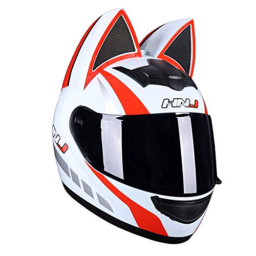 JJXD Full Face Motorcycle Helmet with Flip Visor, Cat Ear Modular Helmet DOT Certification, Suitable for ATV Cross-Country Motorcycles and Mountain Bikes (54~62 cm),M
