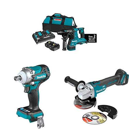 Makita XRH08PT 18-Volt X2 LXT Lithium-Ion (36V) Brushless Cordless 1-1/8 in. Rotary Hammer Kit (5.0Ah) with XWT15Z 4-Speed 1/2 inch Sq. Drive Impact Wrench w/Detent Anvil and XAG04Z Angle Grinder