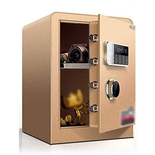 XHMCDZ Caja Fuerte con Cajas Fuertes Moda for el hogar Oficina de Seguridad Doble Cerradura con Llave y contraseña (Color : Gold)