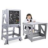 YOLEO Torre Montessoriana Learning Tower Pieghevole, Torre di Apprendimento per Bambini, Pedane Alzabimbo con Lavagna Magnetica...