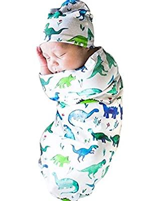 COLOOM Newborn Infant Baby Sleeping Bag & Hat Cap Shark Print Baby Receiving Blanket Set
