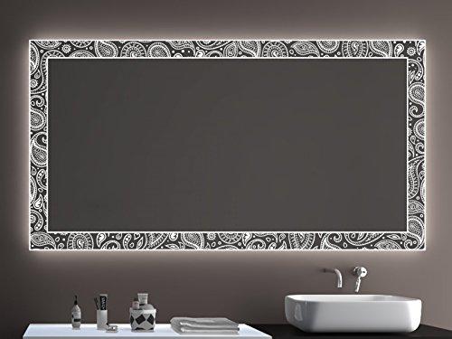 SARAR Badspiegel LD405 Exklusiv mit Laser Gravur Technik A++ LED Beleuchtung - (B) 200 cm x (H) 100 cm - Made in Germany - Badezimmerspiegel Lichtspiegel Spiegel Beleuchtet