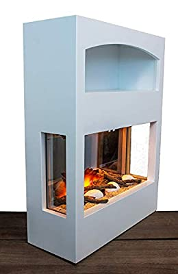 garden mile® Large Freestanding Modern White Log Burner Electric Fire Cabinet Wood Storage, 220/240V 7 day Programmable Remote Control With An Off White MDF Mantel And Floor Standing Base Plinth