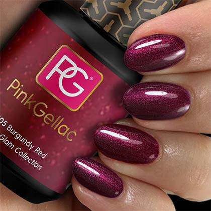 Pink Gellac Shellac Gel Nagellack 15 ml für UV LED Lampe | 205 Burgundy Red Rot Dunkelrot | Gel Nail Polish for UV Nail Lamp | LED Nagel Lack Gellack Nagelgel