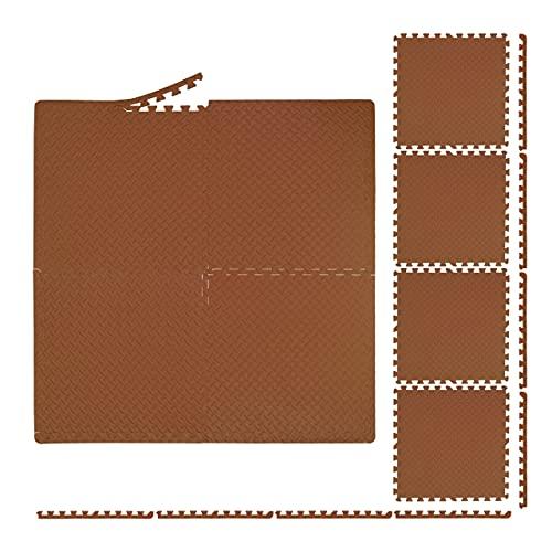 Relaxdays Esterilla Protectora para el Suelo (60 x 60 cm, 8 Alfombrillas con Borde, EVA, Superficie de 3 m², para gimnasios y habitación de los niños, Color marrón