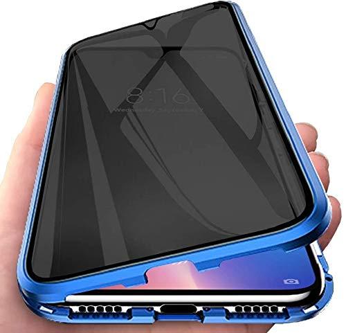 Anti Espía Magnética Funda para Samsung Galaxy S21 Plus 5G Carcasa anti-pío Cubierta 360 Grados Protección Estuche Adsorción Magnética Metal Marco Privacidad Vidrio Templado Cubierta Flip Anti-Spy