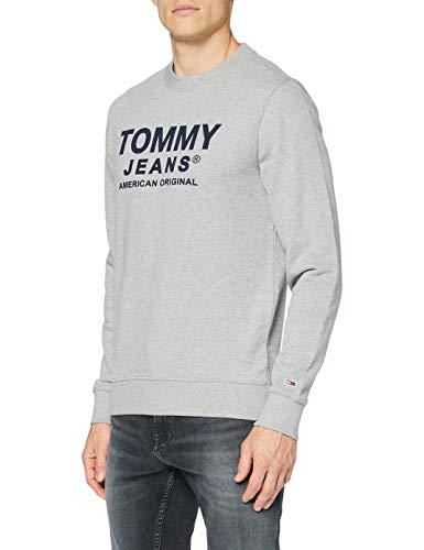 Tommy Jeans Herren TJM Essential Graphic Crew Pullover, Grau (Lt Grey Htr), L