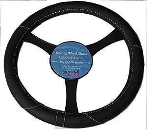 Mitsubishi Lancer L200 Leather Look Steering Wheel Glove Cover Black KA1325