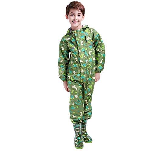 Kids Raincoat Ponchos Overall Rainsuit Boys and Girls Rain Gear,2-14 Years Green