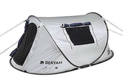 DERYAN Luxe Dome - Reisezelt - Pop-Up - Aufbau in 2 Sekunden - Anti UV - geeignet für 2 Personen - Silber/Schwarz