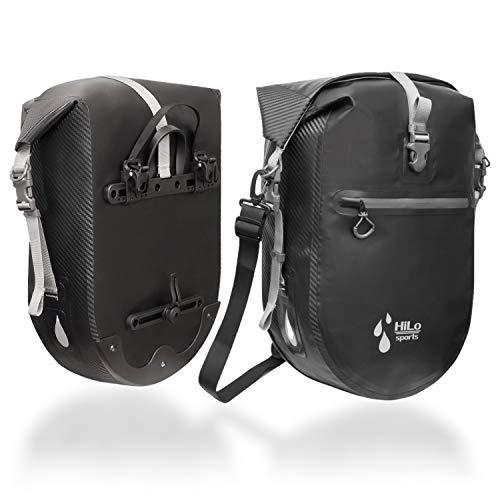 HiLo sports 2 Stück wasserdichte 25L Gepäckträgertasche Fahrrad - Verschweißte Fahrradtasche aus Planen Material - Radtasche Gepäckträger mit Innentasche - Rolltop Hinterradtasche (schwarz)