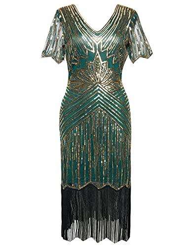 Coucoland Vestido de mujer de los años 20, manga corta, cuello en V, con flecos, vestido de lentejuelas de los años 20, Great Gatsby, cóctel, fiesta, disfraz de mujer Verde y dorado. XL