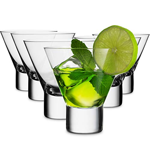 MITBAK 8 - Ounce Martini Glasses (Set of 6) | Elegant cocktail Cups | Great for Martini, Cocktail, Whiskey, Liquor, Margarita, & Other Alcoholic Beverages | Bar Glasses Made In Slovakia