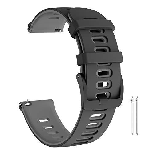 ANBEST Brazalete Compatible con Galaxy Watch 46mm Deportes Pulsera, 22mm Suave Silicona Correa de Reloj para Gear S3 Frontier/Gear S3 Classic/Huawei Watch 2 GT Smart Watch(Negro/Gris)