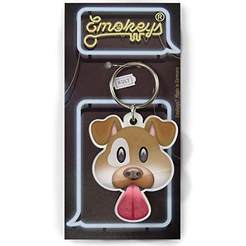 EMOKEY® Hund – Hund Schlüsselanhänger, Mini Hund Emoji ★Made in Germany★