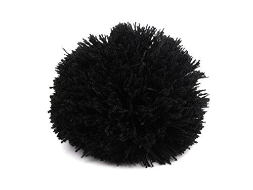 2 Bommeln/Wollbommeln/Pompons, 10cm mit einer großen Farbauswahl, Farbe:schwarz