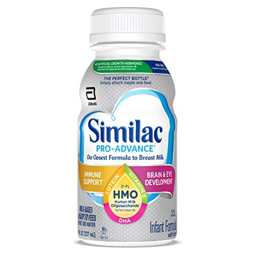 Similac Pro-Advance®* Infant Formula with Iron, 24 Count, with 2'-FL HMO for Immune Support, Non-GMO, Ready-to-Feed Baby Formula, 8-fl oz Bottles