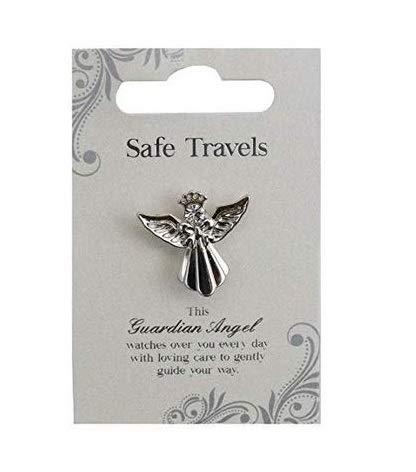 Safe Travels Silver Coloured Angel Pin With Gem Stone Sentimental Gift Idea