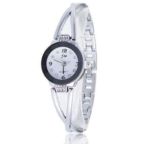 Waterdicht mode Dfch 2 PCS Steel Belt Diamond Mirror digitale weegschaal quartz horloge Bracelet Watch for Women (rose goud) (Color : White shell white surface)