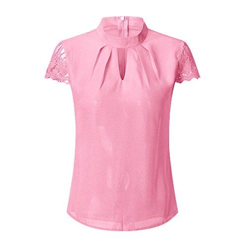 Youngii Tee Shirts Femme été, Chic Fleur Dentelle Patchwork Haut Épaules Nues Tops décontractée Loose Blouse T-Shirts (Rose, M)
