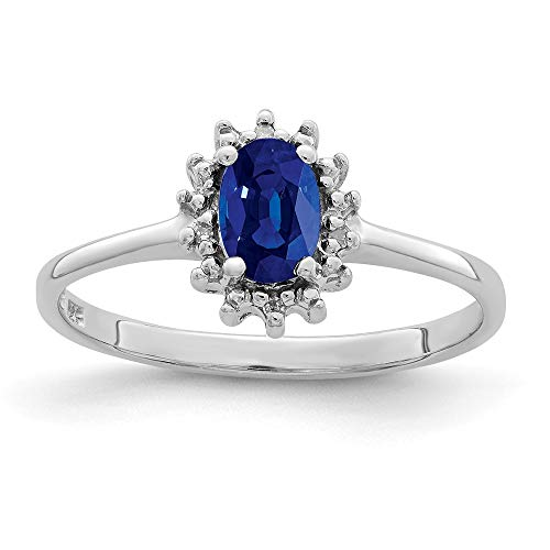 925 Sterling Silver Sapphire Diamond Band Ring Size 7.00 Stone Gemstone Fine Jewellery For Women Gifts For Her
