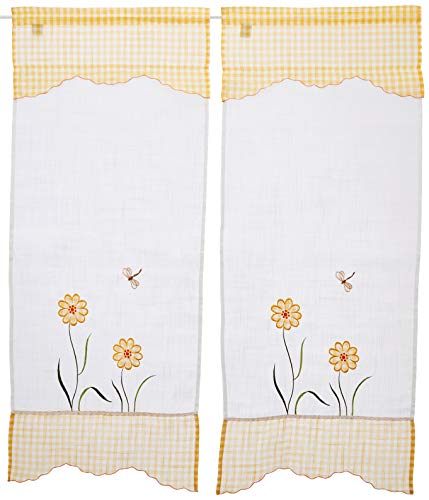 Home Collection TCMAN119/150 Tendina Coppia Margherita, Poliestere, Giallo, 60 x 150 cm, 2 Unità