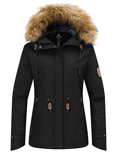 Wantdo Women's Waterproof Ski Jacket Windproof Winter Snow Coat with Faux Fur Collar Black L