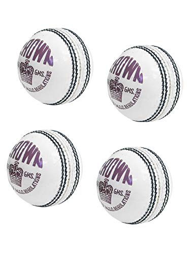 CW Crown White Cricketball II Pure Leather Ball II Handstich 4 Stück Bälle