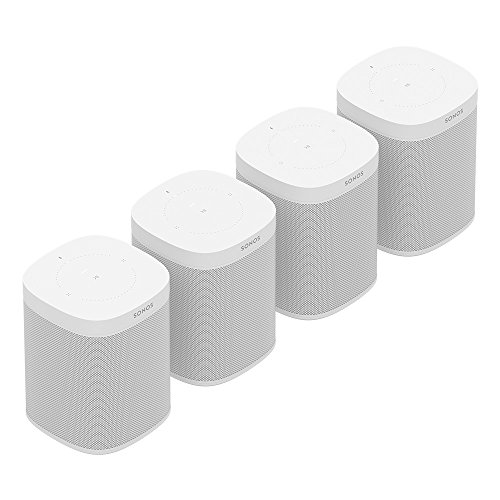 All-new Sonos One Four Room Set - The Smart Speaker for Music Lovers with Amazon Alexa built for Wireless Music Streaming and Voice Control in a Compact Size with Incredible Sound for Any Room. (White)